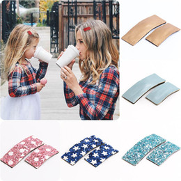 metallic cloth Coupons - Parent-child Bangs Barrettes Printed Hair Accessories Sequin Solid Color Lamb Pattern Leather hair Clip Cloth Bow 40