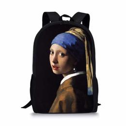 Famoso Monet Van Gogh pittura a olio Borsa da viaggio da donna per uomo Art Backpack Poliestere Ragazzi Ragazze Libro Sacchetto Regalo personalizzato Escolar supplier painted backpacks da zaini verniciati fornitori