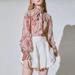 blusas de gola alta Desconto Casual Imprimir Tops Feminino Bowknot Lace Up Lanterna de Gola Alta Camisas de Manga Longa Blusa Mulheres 2019 Moda Primavera