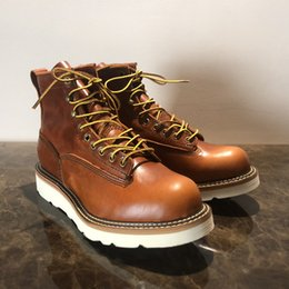 Handmade Wing Top Quality Vintage Men Spring Casual Shoes Red Luxury Design  Big Size Outdoor Safety Work Ankle Boots Motorcycle Boots 845142d48eb4