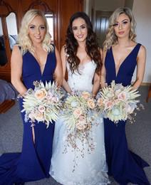 Canada 2019 bleu marine sirène designer robes de demoiselle d'honneur sexy col en v formelle partie mariage robe robe demoiselle d'honneur robes BM0360 Offre