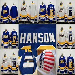 Camisola do hóquei chefes on-line-NHL Hanson Irmãos Charlestown Chefes # 16 Jack Hanson # 17 Steve # 18 Jeff Hanson SlapShot Filme Jerseys Azul Branco Costurado Camisas De Hóquei