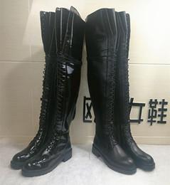Calcanhares grossos on-line-Frete grátis ANN 2019 novas bombas de couro solas grossas 4CM salto alto lace-up over-the-knee boots cavaleiro longos coxa-botas altas Shoes 34-40