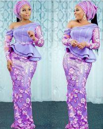 afrikanische spitzeart und weisearten Rabatt 2019 Afrikanische Nigerianische Abendkleider Lila Aso Ebi Spitze Stile Schulterfrei Schößchen Puffy Long Sleeves Mermaid Prom Dresses Formelle Kleider