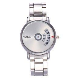 Relógio quartzo feminino on-line-Womage genuína moda criativa rotativa dial banda de aço relógios de quartzo amantes de estudantes relógios