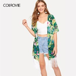 a1545ec884 COLROVIE Green Tropical And Chain Print Fringe Vacation Kimono Women 2019  Spring Half Sleeve Long Beach Ladies Casual Kimonos