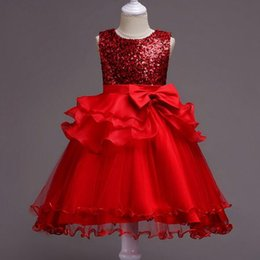 Vestidos de dama de colas online-2019 New Girls Red Flower Girl Dress Kids Pageant Boda de dama de honor Vestido de fiesta Princesa Formal Long Tailing Lentejuelas Vestido