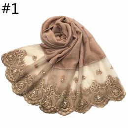 Velo lungo pianura online-1pc Two Sides Lace bordi musulmano della sciarpa del cotone Plain Hijab con perla ricamo morbido scialle Veil cucitura lungo Foulard Marmitta