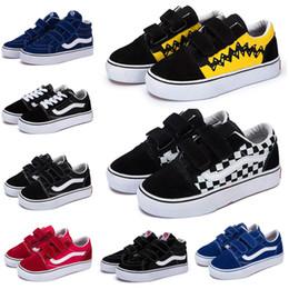 Zapato de lona blanco para niños online-vans old skool Original Kids Old Skool SK8-HI Zapatos de lona ocasionales Diseñador de lujo Negro Blanco Azul Rojo Chico Chica Bebé Skateboard Zapatillas deportivas 22-35