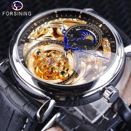 b90d5aafd12 2019 marcas de relógios mão Forsining Novos Relógios Mecânicos de Prata  Dourada para Homens Top Marca