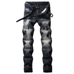 Pantalones vaqueros extranjeros online-Fairy2019 Foreign For Cross Male Holes European Do Self-cultivation Directly Canister Men's Jeans