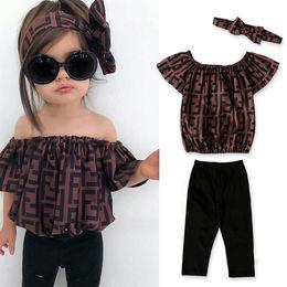 Tenues d'impression en Ligne-F letter Print Girls Clothes Cute Children Outfits Off Shoulder Letter With headband 3pcs Summer baby Clothing Sets TTA970