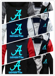 Светящиеся толстовки онлайн-Зимняя толстовка с капюшоном Alabama Crimson Tide Футбол Светящиеся Мужчины женщины Теплые толстовки Осенняя одежда Толстовки Куртка на молнии флисовая толстовка с капюшоном уличная одежда