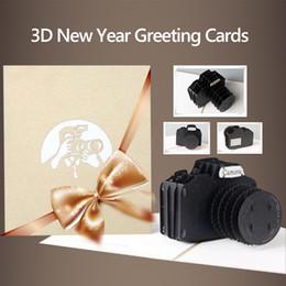 Черная бумажная оболочка онлайн-3D Paper Craft Beautiful Camera Shape Home Greeting Card Prop Black Decorating Gift Ornament Romantic with Envelope Festival
