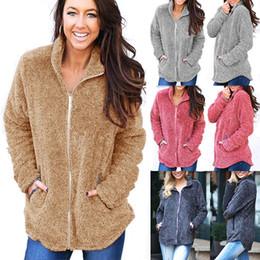 460bbe7705ffa Frauen Weiche Fleece Hoodies Reißverschluss Sherpa Sweatshirts Herbst  Winter Warme Pullover Strickjacke Lässig Feste Hoodie Jacke Damen Mantel  Top Kleidung ...