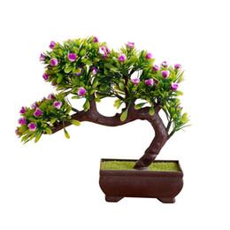 Alberi di bonsai artificiali fioriti online-1 pz fiore artificiale Rose Tree Pot Bonsai Stage Garden fornitura Wedding Party Balcone Planter Decor
