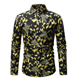 satin blouses shirts Promo Codes - Casual Blouse Mens Clothing Slim fit Mens Dress Shirts Hawaiian Shirt Long sleeve Yellow Orange Red Gray Camisa masculina