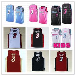 basketball trikot material Rabatt Heißer Verkauf New Material Dwyane Wade 3 Trikots Stickerei genähtes Großhandelsmänner Kinder Basketballjerseys Größe S-XXL Ncaa