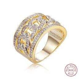 4effd9616091 Lady Punk marca de joyería de oro ahueca hacia fuera el anillo de la cadena  925 anillos de plata esterlina para mujeres hombres brillantes diamantes ...