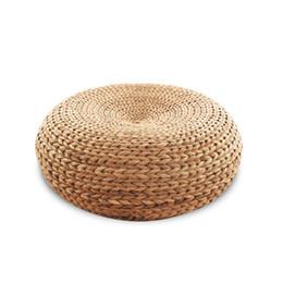 Almofadas de fezes on-line-Novo 100% Natural assento de vime tapete de yoga cadeira de vime otomanos almofada Zen almofada móveis sala de estar