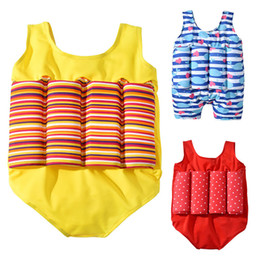children bathing suits Coupons - Children Striped Dot whale print Swimwear 2019 summer Floating Bathing Suit Bikini Kids One Pieces Swimsuit with buoyancy 3 colors C6396