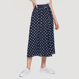 f73ffc050a Summer Women Chiffon Polka Dot Skirt Female Black dots Pleated Skirt Beach  A-Line Plus Size