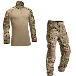 combinaison de combat tactique Promotion Uniforme de camouflage tactique Vêtements Costume Hommes armée US Combat Shirt + Cargo Pants Genouillères