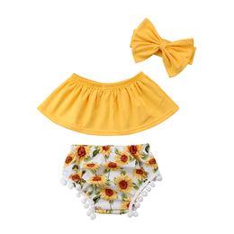 0-24M Cute Newborn Baby Girl Off shoulder Crop Tops Amarillo + Girasol Tassel Baby Bloomers Shorts Diadema 3 UNIDS Traje Sunsuit Y18120303 desde fabricantes