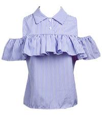 blusa rosa do ombro Desconto Na moda Verão Mulheres Soltas Ruffles Off the Shoulder Xadrez Listrado Azul Rosa Camisas Top Casual Blusas Quentes