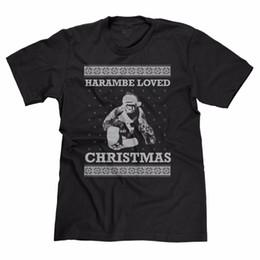 Neue hässliche weihnachtsstrickjacken online-Harambe Loved Christmas Ugly Sweater Lustiges Weihnachten Gorilla Leben Angelegenheit T-Shirt T 100% Baumwolle Brand New T-shirts
