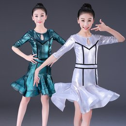 2019 mädchen latin röcke Mädchen Latin Dress Ballsaal Rumba Üben Tanz Röcke Kinder Kind Shiny Latin Kostüme für Latino Dance günstig mädchen latin röcke