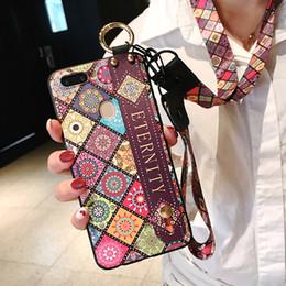 Argentina Estilo de la tela escocesa de la correa de muñeca caja del teléfono para el iPhone X XR XS XS 6 6 s 7 8 plus Max con cordón Correa para el cuello correa de muñeca cubierta Suministro
