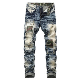 джинсы мужские Скидка Mens Jeans Hole Patch Distressed New Slim Denim Trousers European and American Style Hot Sale Asian Size
