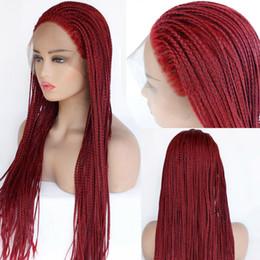 2019 kagamin kostüm Großhandel Geflochtene Spitzeperücken Rotes Haar für Schwarze Frauen Synthetische Hitzebeständige Lange Zöpfe Perücke Glueless Half Hand Tied