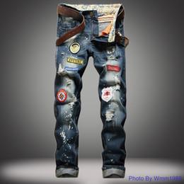 Preços de tinta on-line-Melhor Preço de Alta Qualidade dos homens Rasgados Calça Jeans Emblema Tubo Em Linha Reta Fino Jeans Respingo Tinta Do Jeans Moda Masculina Atacado