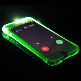 funda de iphone de luz led intermitente Rebajas Llamando a Light Up Case para Iphone 8 7 6 Plus Ultra Thin TPU LED parpadeando iluminación Recordatorio entrante cubierta del teléfono para Samsung S8