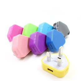 Adaptadores de iphone colores online-10 colores Reino Unido Enchufe Cargador USB Cargador de CA Cargador de pared usb Adaptador de corriente para teléfono móvil Blackberry CAB317