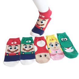 сумасшедшие носки Скидка Мода Горячие Продажа Хлопок Мужские и женские Носки Забавный Мультяшный Супер Марио Луиджи Йоши Сумасшедшие Носки Лодыжки Короткие Лето Стиль