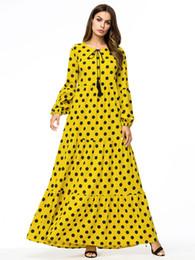 Casual vestido maxi amarillo mujer lunares más tamaño patchwork vestido largo Dots Vintage imprimir mangas largas Swing vestidos de playa desde fabricantes