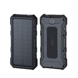 Солнечные тревоги онлайн-солнечная энергия беспроводная быстрая зарядка Power bank 20000mAh 10 Вт аварийный фонарик с функцией SOS-помощи flash alarm solar power bank
