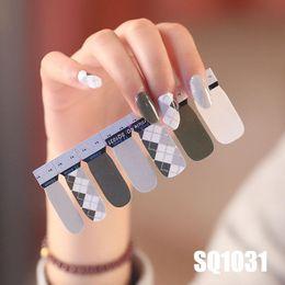 Marmorkleber online-14 Tipps Nail-Art-Volldeckung Self Adhesive Aufkleber Polish Foils Tipps Wrap-Abziehbild-Maniküre Marmor Gradient Süßigkeit-Farben-SQ-Serie