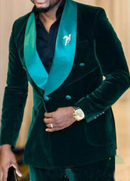 2019 grüne samtanzughose Fashion Dark Green Velvet Bräutigam Smoking Zweireiher Groomsmen Men Blazer Anzug Party Prom Anzug (Jacke + Hose günstig grüne samtanzughose