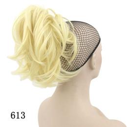2019 clip de extensiones de cabello blanco Agarre cola de caballo señoras pelo corto estilo de pelo rizado extensión de cabello flexible material sintético de seda de alta temperatura estilo rizado moda