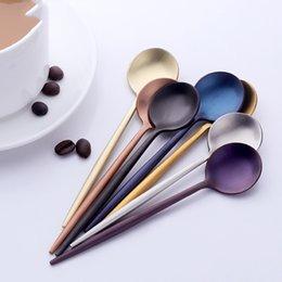 Set de cucharas pequeñas online-Eco Friendly estilo coreano colorido pequeña cuchara de té de vajilla 18/10 Acero inoxidable Mini cucharas de café Set Vajilla cucharadas de Corea