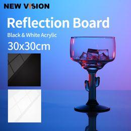 dslr kamera schulter rig unterstützung Rabatt 30x30 cm Reflektierende Schwarz-Weiß-Acryl-Anzeigetafeln für Tabletop-Produktfotografie Reflektierende Matt-Flach-Finish-Hintergrund