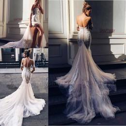 Deutschland Pallas Couture Mermaid Split Brautkleider 2020 New Champagne Kirche Zug Off-Schulter eleganter Country Garden Berta Brautkleider 2043 Versorgung