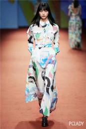 Lanternas de pescoço on-line-Vestidos de pista de Milão 2019 Primavera Verão Lapela Pescoço Lanterna Manga Painéis de Impressão a cores das Mulheres Designer vestido de Marca Mesmo Estilo Vestido 121008