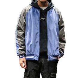 Uniformes de estilo japonês on-line-Men Blue Bomber Jacket Velvet japonesa Street Style Japão Brasão Hip Hop Baseball Uniform Jacket Juventude Casacos Homme Vintage