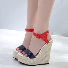 2019 синие клиновые сандалии 15см роскошная женская обувь красный синий высокий каблук платформа клинья дизайнерские сандалии 2018 размер от 35 до 40 дешево синие клиновые сандалии