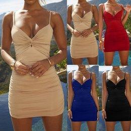 Сексуальные женщины с глубоким вырезом с глубоким V-образным вырезом и плиссированной обтягивающей обтягивающей мини-платьем с запахом спагетти с летним клубным платьем от